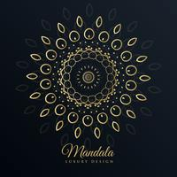 mandala gyllene design i blom mönster stil