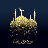 hermosa mezquita hecha con fondo de brillos