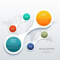 Infografía creativa de cinco pasos en estilo circular que conecta wi.