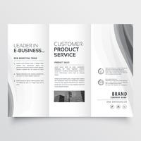 Dreifachgefaltete Geschäftsbroschüre mit eleganter grauer Welle