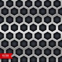 Fondo de metal con agujeros de formas hexagonales.
