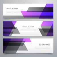conjunto de bandeiras de negócios de formas geométricas roxo e cinza