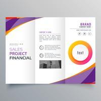 modello di brochure a tre ante creativo con onda viola e arancione s