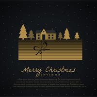 elegant christmas greeting with gift box, house and tree