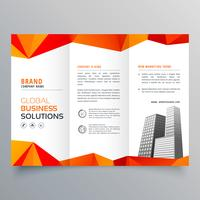 brochura com três dobras criativa elegante com laranja geométrica abstrata