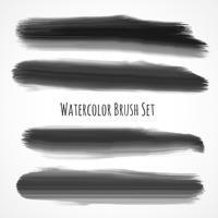 set of black watercolor brushes