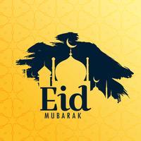 Fondo de saludo festival eid con forma de mezquita y grunge