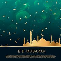 eid festival celebration background with golden confetti