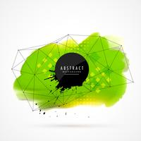 grön akvarellgrunge med wireframe mesh