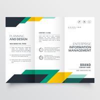 Diseño de folleto tríptico empresarial con formas geométricas.