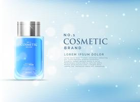 cosmetic product ads display concept template with beautiful blu