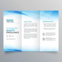 modelo de panfleto de design azul elegante com três dobras brochura