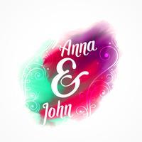 disegno della carta di invito matrimonio con effetto acquerello e floreale