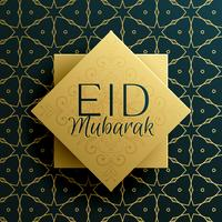 eid mubarak holiday greeting card template design with islamic p