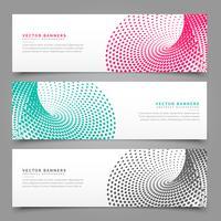 Halbton-Banner-Design in drei verschiedenen Farben
