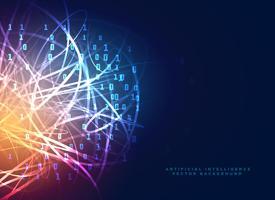 Digitaltechnik-Design mit abstrakten Netzwerklinien und binär