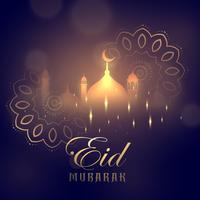 eid mubarak greeting card design with glowing mosque and mandala