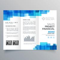 blue square shape trifold business brochure design template