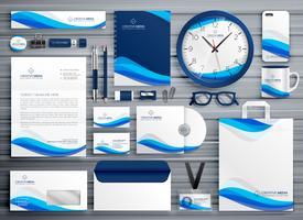 brans briefpapier ontwerp voor uw bedrijf in blauwe golfstijl