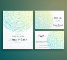 Diseño de tarjeta de felicitación de invitación de boda con hermoso mandala d