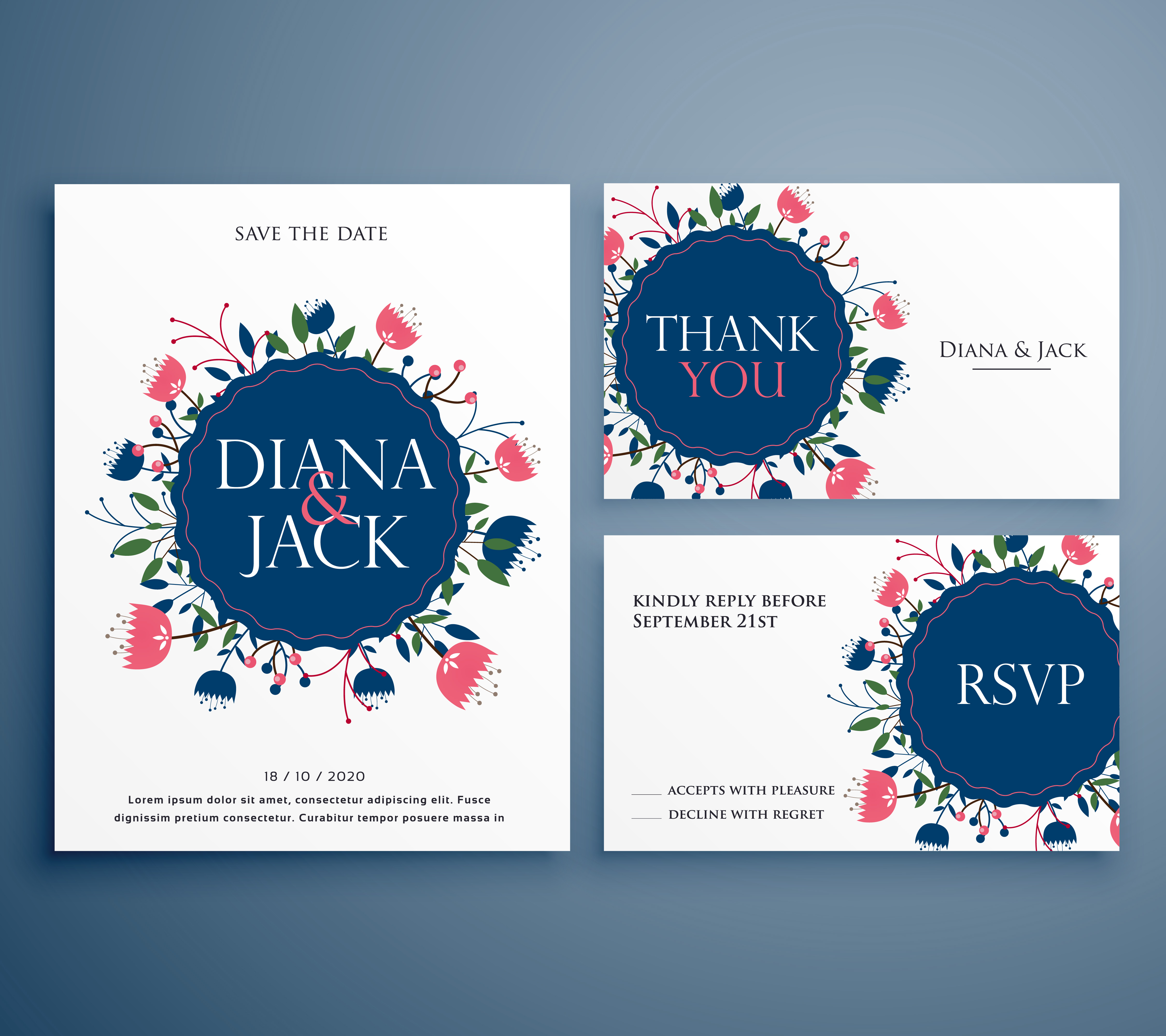 wedding suite invitation card with flower decoration including s ...