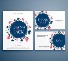 Tarjeta de invitación de boda suite con decoración de flores incluyendo s