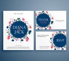 Inbjudningskort med bröllopssuccé med blomsterdekoration inklusive s
