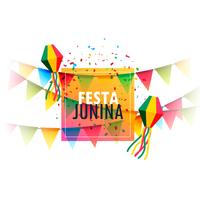 Diseño de tarjeta de felicitación festiva de fiesta junina con guirnalda y confe