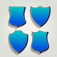 Conjunto 3D azul de emblemas e etiquetas