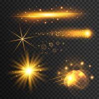 Conjunto de efectos de luz dorada transparente.