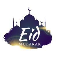 eid Festivalgruß mit Moschee und Grunge