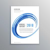 stilig broschyr flygblad design mall med blå virvla runt