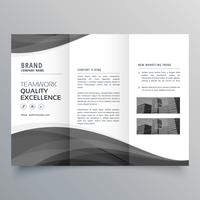 black wave business trifold brochure design template
