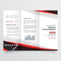 Diseño de folleto tríptico rojo y negro para su negocio.