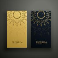 luxury mandala card design in gold and black color