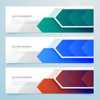 conjunto de banners geométricos flecha abstracta