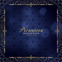 premium blauwe achtergrond met gouden sierdecoratie
