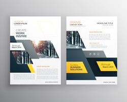 modern yellow brochures set for business presentation or brandin