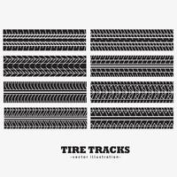 eight tire tracks marks set