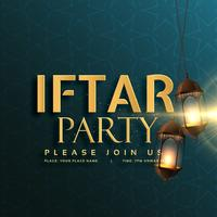 iftar party invitation card design con lampade a sospensione