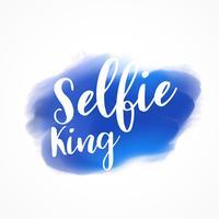 Letras de selfie rey en acuarela de trazo de pintura azul