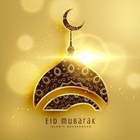 beautiful mosque design for islamic eid festival with golden dec