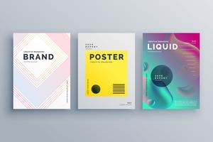 geweldige minimale brochure sjabloonontwerp set met stijl van lijnen