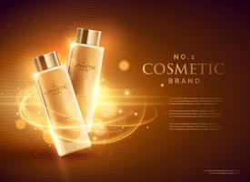design de conceito de publicidade de marca de cosméticos premium com brilhos
