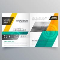modelo de brochura bifold de capa de revista moderna amarelo e azul d