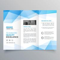 Plantilla de diseño de folleto tríptico geométrico abstracto azul