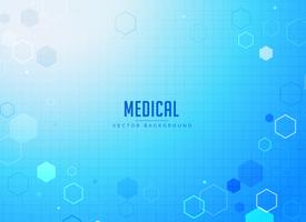 Diseño de fondo azul de atención médica con formas hexagonales.