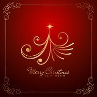 Vintage creativo diseño de árbol de navidad en color dorado