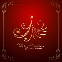 vintage creative christmas tree design in golden color
