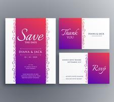 Ahorre fecha diseño de plantilla de tarjeta de boda con decoratio floral